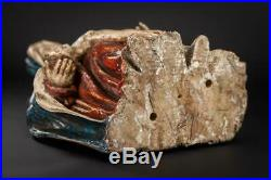 Pieta Sculpture Virgin Mary Cradling Jesus Statue Antique Wood Carving 14