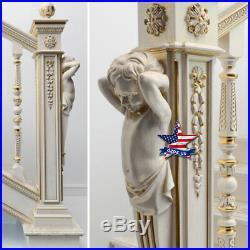Pillar Column Gilding Sculpture for stairs Wood Carved statue figure artwork