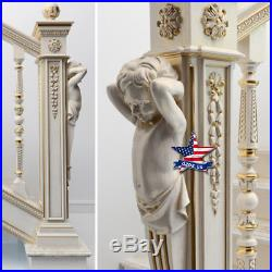 Pillar Column Sculpture for stairs Wood Carved statue figure artwork