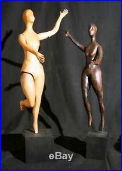 Pr. Rare Carolyn Rhoads Carved MCM Wood Sculptures Some Movable Limbs Signed