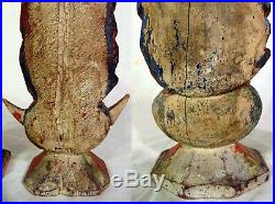 RARE PAIR Antique Santos Carved Wood Figures 18th 19th C Man Woman Sculptures