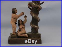RAREAntique Hand Carved Folk Art Wood Sculpture ADAM & EVE & DEVILBible Scene