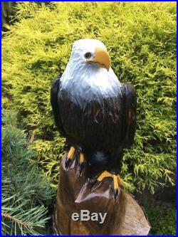 REALISTIC Chainsaw Carved BALD EAGLE BLACK WALNUT WOOD Carvings Sculptures