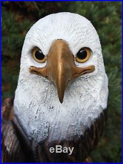 REALISTIC Chainsaw Carved BALD EAGLE Sassafras Wood Sculptures Birds of Prey
