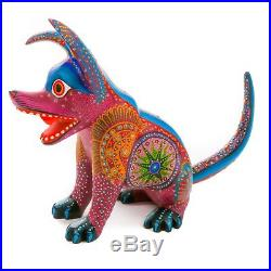 RED DOG Oaxacan Alebrije Wood Carving Mexican Art Animal Sculpture Painting