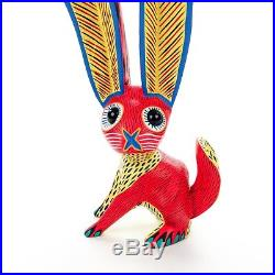 RED RABBIT Oaxacan Alebrije Wood Carving Mexican Art Sculpture Painting