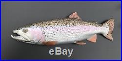 Rainbow Trout Steelhead Flyfishing Sculpture Wood Carving Casting Rod Reel Art