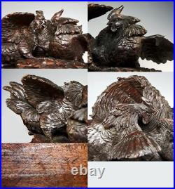 Rare 1800s Carved Black Forest Sculpture, Cock Fight with Basket, Cigar or Cache