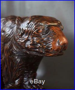 Rare Antique Large Black Forest Hand Carved Wood Bear Statue Sculpture