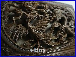 Rare Chinese Qing Huanghuali Wood Wooden Box Carved Coffre Sculpture