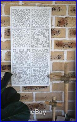 Rectangle Whitewash White Carved MDF Wood Boho Bohemian Mandala Wall Plaque Art