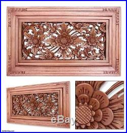 Relief Wall Panel'Dream Flower' Sculpture Artist Hand Carved Wood NOVICA Bali