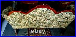 Reupholstered Antique Victorian Sofa Grapes & Leaves Wood Carving PICK UP ONLY