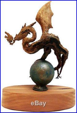Rick Cain Original Dragon Mythical Fantasy Wood Carving Fine Art Sculpture