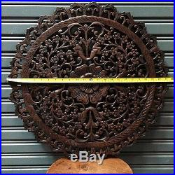 Round 23-inch Teak Wood Wall Panel Carved Brown Floral Asian/Oriental Home Decor