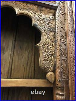 Rustic Bookcase Arched Intricate Carving Tall Display Carved Wood Book Shelf