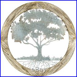 Rustic Carved Wood & Distressed Metal Round Tree of Life Home Lodge Wall Decor