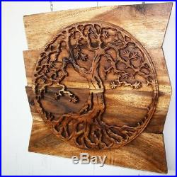 Rustic Carved Wood Tree of Life Wall Art Sculpture Eco-Friendly Handmade 24 x 24