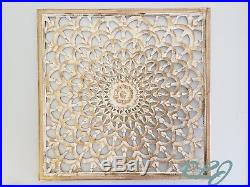 Rustic Square White-Washed Carved Wood Scroll Lacework Wall Panel Home Decor