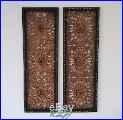 Rustic Vintage Elegant Brown Carved Wood Floral Scrollwork Set/2 Wall Art Panels