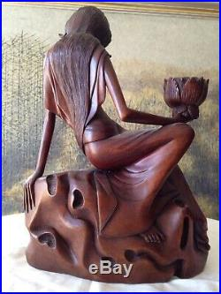 SIGNED Hand-Carved Large Wood Sculpture Female with Lotus Flower Bali Indonesia