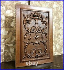 Scroll leaves griffin wood carving panel antique french architectural salvage