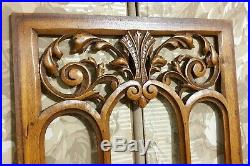 Scroll leaves pierced wood carving panel antique french architectural salvage