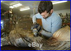 Sculpture hand carved organic Wood Raw 3' Tall Fine Art