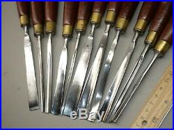 Set of 11 Marples wood carving chisels in tool roll
