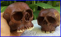 Set of 2 Hand Carved Sculpture Human Skull Realistic flexible Jaws Pair Couple