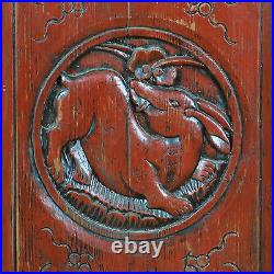 Set of 6 Carved Red Antique Chinese Asian Architectural Doors 19 x 85 each