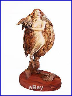 She Hawk Original Rick Cain Wood Carving Woman Nude Fantasy Spirit Sculpture
