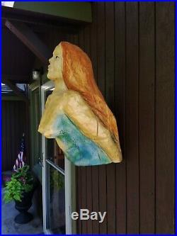 Ships Figurehead Mermaid Nautical Real Wood Sculpture Carving Folk Art
