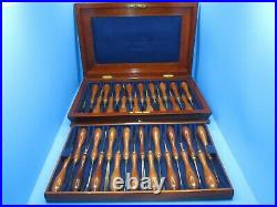 Showy presentation boxed set w 35 Henry Taylor wood carving tools gouges chisels