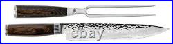 Shun Premier 9.5 Slicing Knife & 6 Carving Fork 2 Piece Set TDMS0200 NEW