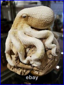 Skull Carved Octopus Wooden Sculpture Realistic Wood Bone Antler Carving
