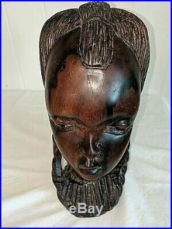 Solid Wood Hand Carved Tribal Girl Woman Bust Sculpture Ebony/Ironwood 10
