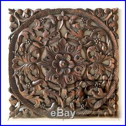 Square Lotus New Wood Carving Home Wall Panel Mural Decor Art Statue FS gtahy 01