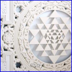 Sri Yantra Mandala Wood Carving Wall Art, Meditation Room Decor