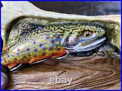 Steve Shaner, Brook Trout, native, rocks, fly fishing, wood, deer antler, fish, carving