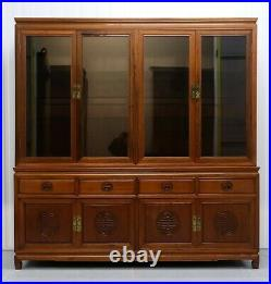 Stunning Chinese Rosewood Sideboard With Glass Shelves Carving Details & Lights