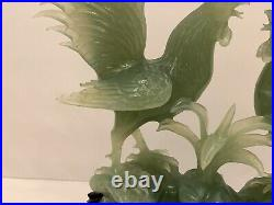 Superb Antique Chinese Carved Jade Fighting Roosters Sculpture on Wood Base
