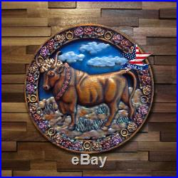 Taurus Wood Signs Of Zodiac Carved Artwork Painting Picture Sculpture Decor