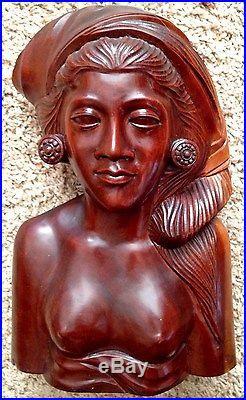 Teak Wood 4X8X12 Carved Woman Art Sculpture Bust Wearing Head Wrap