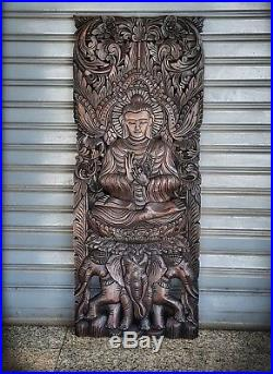 Teak Wood Carved Art Wall Wood Sculpture Stencil Buddha Thai