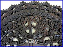 Teak Wood Wall Carving Round Flower Thai Carved Wooden Plaque Relief Panel 23