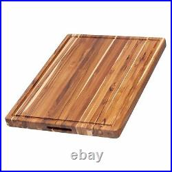 Teakhaus by Proteak Edge Grain Carving Board withHand Grip + Juice Canal Recta