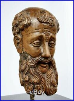Tête d'homme barbu Espagne XVIIIe Antique carved wood 18e sculpture bois