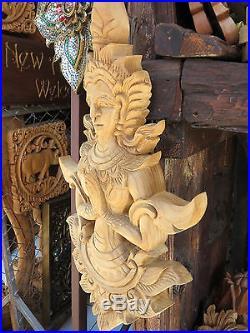Thep Phanom Thai Budda Sculpture Wood Carved Home Wall Mural Art Decor DIY gtahy
