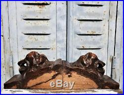 Three gothic lion corbel bracket Antique french wood carving salvaged furniture